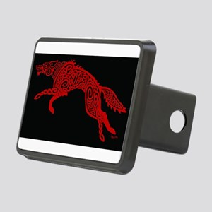 Red Wolf on Black Rectangular Hitch Cover